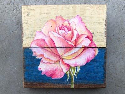 schilderijtje met roos