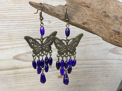 oorbellen vlinder paars