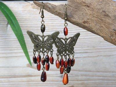oorbellen vlinder oranje-bruin