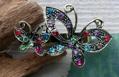 ring vlinder dubbel bronskleur bont