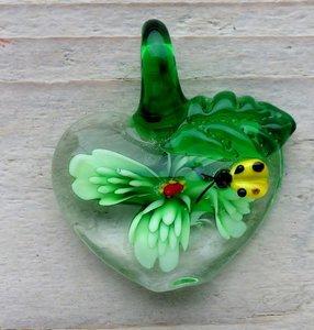 hanger glas bloem lieveheersbeestje