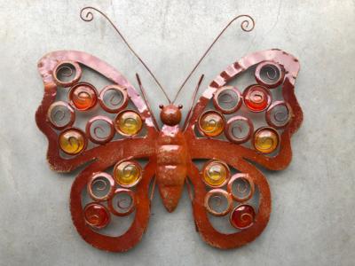 wanddeco vlinder metaal 'seventies' 48x36cm