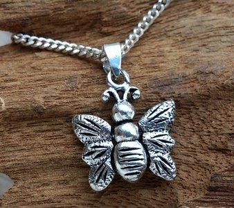 hanger vlinder zilver 16 x 18 mm