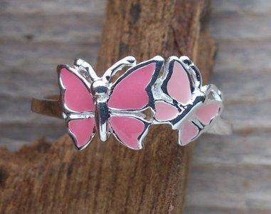 kinderring vlinder zilver zacht roze (maat 14 - 14¼ - 15¼)