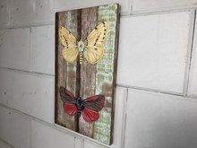 vlinders op hout