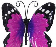 wanddecoratie vlinder metaal paars 15x12cm