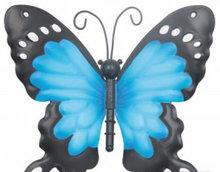 wanddecoratie vlinder metaal blauw 12x13cm