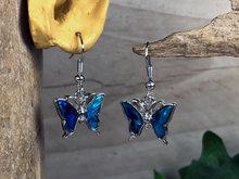vlinder oorbellen blauw
