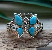 ring vlinder zilver turkoois