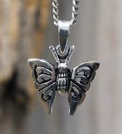 vlinder hanger zilver
