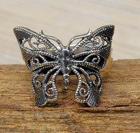 vlinder ring zilver